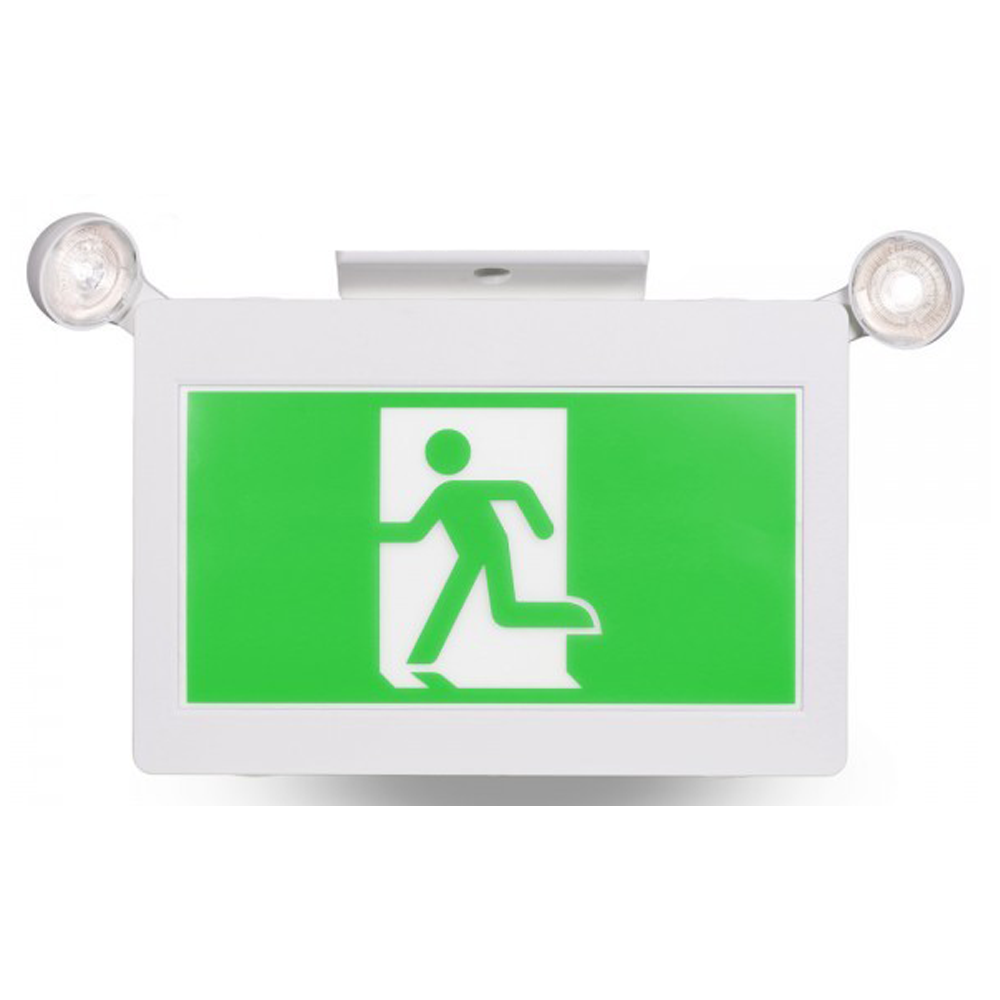 green running man exit light with heads kastor energy